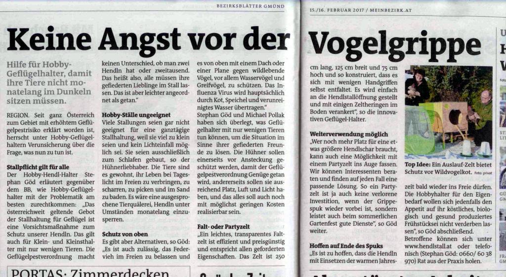 Ein Artikel über www.hendlstall.at in den Bezirksblättern.