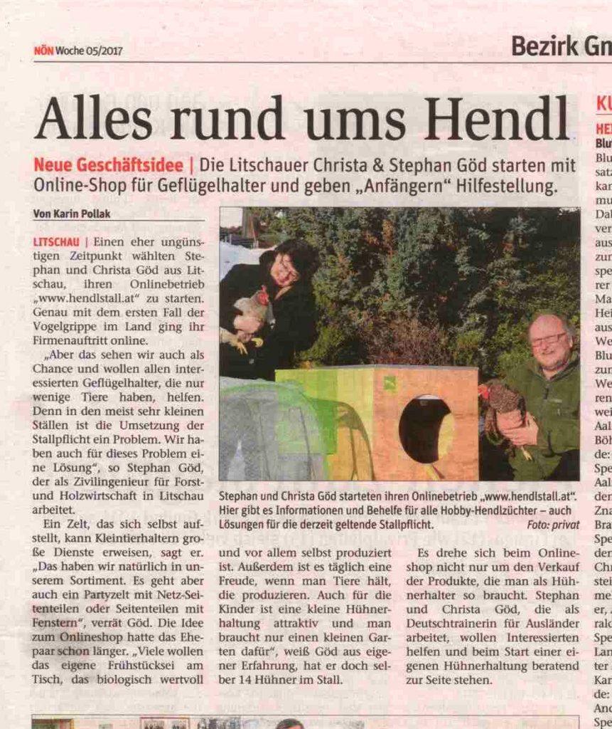 Ein Artikel über Hendlstall.at in der NÖN