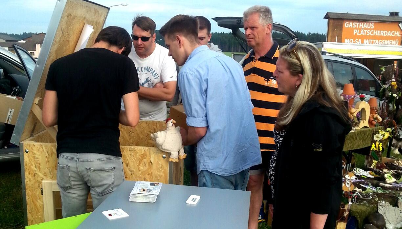 Hühnerstall beim Kleintiermarkt in Groß Rupprechts